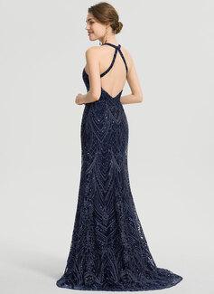Trumpet/Mermaid Scoop Neck Sweep Train Lace Prom Dresses