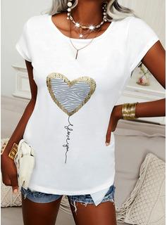 Impresión Corazón Carta Cuello Redondo Manga Corta Elegante Blusas
