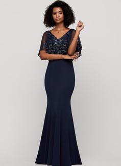 Trumpet/Mermaid Scoop Neck Floor-Length Jersey Evening Dress