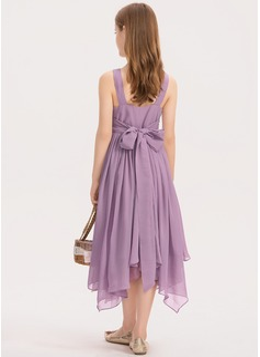 Corte A Decote redondo Comprimento médio Tecido de seda Vestido de daminha júnior com Pregueado Beading Curvado
