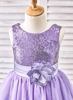 Forme Princesse Longueur mollet Robes à Fleurs pour Filles - Tulle/Pailleté Sans manches Col rond avec Fleur(s)