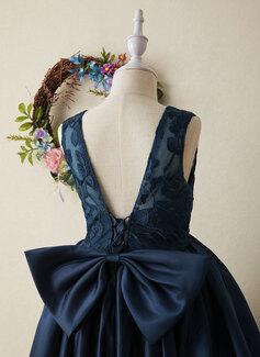 Robe Marquise/Princesse Asymétrique Robes à Fleurs pour Filles - Satiné Sans manches Col rond avec À ruban(s)