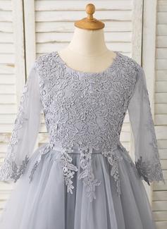 Aライン くるぶし丈 フラワーガールのドレス - チュール/レース 長袖 スクープネック