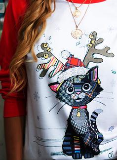 Animale Stampa Girocollo Maniche lunghe Felpa natalizia