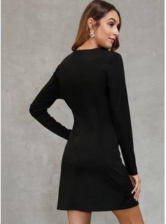 カラーブロック シースドレス 長袖 ミニ パーティー ファッションドレス