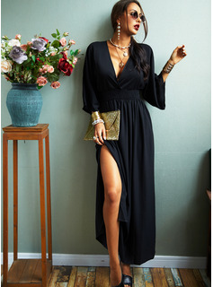 Solid Sheath 3/4 Sleeves Batwing Sleeves Maxi Little Black Casual Elegant Dresses