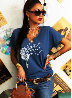 Lace Print V-Neck Short Sleeves Casual T-shirt