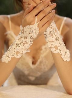 Tyl/Krajka Po zápěstí Svatební rukavice