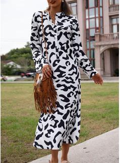 Print Shift 3/4 Sleeves Maxi Casual Vacation Dresses