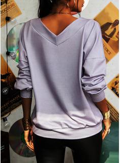 Solido Fuori dalla spalla Maniche lunghe Casuale Camicie