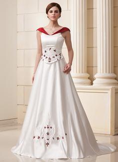 Robe Marquise Hors-la-épaule Traîne mi-longue Satiné Robe de mariée avec Brodé Fleur(s)