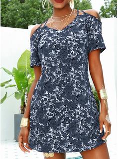Fleurie Imprimé Robe trapèze Manches Courtes Mini Décontractée Vacances Patineur Robes tendance
