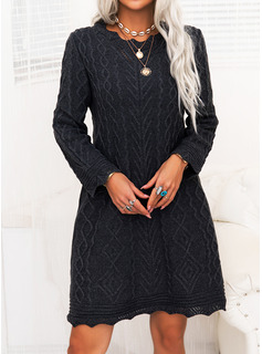 固体 ケーブル編み 長袖 カジュアル 長い セータードレス ファッションドレス