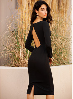Bodycon Long Sleeves Midi Back Details Little Black Party Modern Sexy Dresses