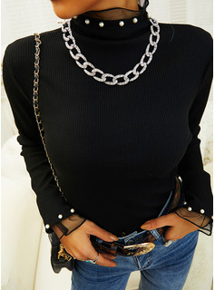 Beaded Lace Solid High Neck Long Sleeves Elegant Blouses