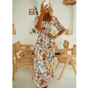 Blomster Print Kjole med A-linje Korte ærmer Maxi Elegant skater Mode kjoler (294253618)