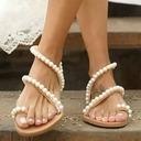 Femmes Similicuir Talon plat Chaussures plates À bout ouvert Sandales avec Pearl