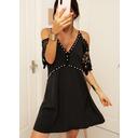 Blonder Solid Skiftekjoler 1/2 ærmer Kold-skulder ærmer Mini Casual Mode kjoler (294248444)