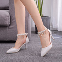 Women's Leatherette Stiletto Heel Closed Toe Pumps Sandals MaryJane With Imitation Pearl Tassel Chain (047225178)