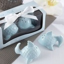 """""""Kissing Fish"""" Ceramic Salt & Pepper Shakers With Ribbons (Set of 2 pieces)"""