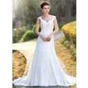 A-Line/Princess V-neck Court Train Chiffon Wedding Dress With Lace Beading Sequins