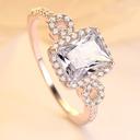 Sterling zilver Zirconia Halo Wijnoogst Stokbrood Gesneden Verlovings ringen Belofte ringen