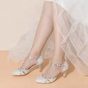 Vrouwen Kant Sprankelende Glitter Low Heel Closed Toe met Gesp