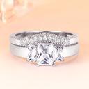 Sterling Silver Cyrkonia Aureola Zabytkowe Krój Bagietki Pierścionek zaręczynowy Zestawy ślubne