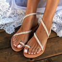 Femmes Similicuir Talon plat Chaussures plates À bout ouvert Sandales avec Cristal