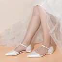 Femmes Satiné Tissu Talon plat Chaussures plates avec Boucle Strass