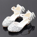 Muchacha Encaje Sparkling Glitter Zapatos de niña de las flores con Bowknot Crystal Perla