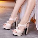 Women's Leatherette Stiletto Heel Sandals Platform Peep Toe Slingbacks With Rhinestone shoes