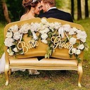 Simple/Classic/Bride and Groom Wooden Wedding Sign (set of 2)