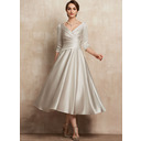 A-Line V-neck Tea-Length Satin Mother of the Bride Dress With Ruffle (008225549)