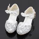 Muchacha Encaje Sparkling Glitter Zapatos de niña de las flores con Cuentas Bowknot Crystal
