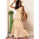 Spitze Gepunktet A-Linien-Kleid Ärmellos Maxi Lässige Kleidung Urlaub Skater Modekleider (294252921)