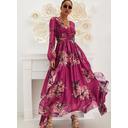 Květiny Tisk Do tvaru A Dlouhé rukávy Maxi Elegantní Skaterové Módní šaty (294252654)