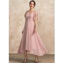A-Line V-neck Ankle-Length Chiffon Lace Evening Dress (017237028)