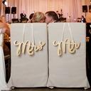 """""""Mr. & Mrs."""" Elegant Wooden Wedding Sign (set of 2)"""