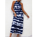 Tie Dye Print Shift Sleeveless Maxi Casual Dresses (294259743)