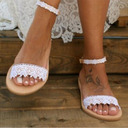 Women's Leatherette Flat Heel Flats Peep Toe Sandals With Stitching Lace