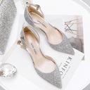 Kvinnor Glittrande Glitter Kitten Heel Stängt Toe Pumps med Glittrande Glitter