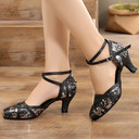 Women's Leatherette Ballroom With Buckle Dance Shoes