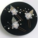 En forma de flor cobre/Cintas Horquillas con Perla Veneciano (Juego de 6)