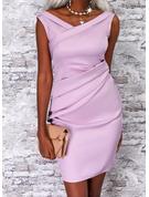 Solid Bodycon Sleeveless Midi Elegant Dresses