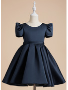 A-Line Scoop Neck Knee-length Satin Short Sleeves Flower Girl Dress