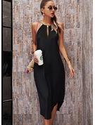固体 シフトドレス ノースリーブ マキシ リトルブラックドレス カジュアル 休暇 ファッションドレス