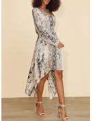 Imprimeu Bir Çizgi Mâneci Lungi Asimetrik gündelik Patenci Moda Elbiseler