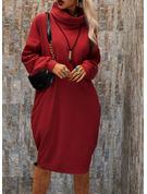 Solid Shiftklänningar Långa ärmar Midi Fritids Modeklänningar
