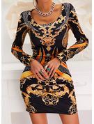 Print Bodycon Long Sleeves Mini Vintage Elegant Dresses